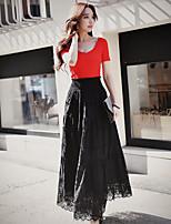 DABUWAWA Women's High Rise Midi SkirtsVintage Boho Street chic A Line Swing Lace Cut Out Solid