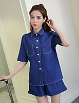 Women's Casual/Daily Street chic Sophisticated Spring Hoodie Dress Suits,Print Notch Lapel Short Sleeve Silk Faux Fur