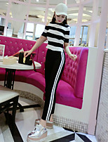 Women's Going out Holiday Simple Cute Sweater Pant Suits,Striped Off Shoulder