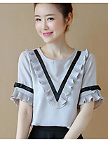 Women's Going out Casual/Daily Simple Cute Summer Blouse,Solid Print Round Neck Short Sleeve Others Thin