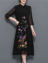 Women's Plus Size Going out Vintage Sophisticated Loose Chiffon Dress,Embroidered Stand Midi ¾ Sleeve Polyester Spring Summer Mid Rise