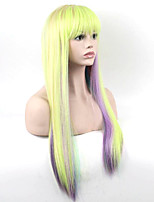 Popular Purple To Yellow Mixed Color Long Straight Synthetic Wigs For Afro Women