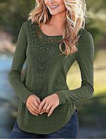 Damen Solide Einfach Ausgehen T-shirt,Rundhalsausschnitt Herbst Winter Langarm Polyester Mittel
