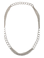 European Silver Tone Multi Layers Thick and Thin Metal Chains Necklace