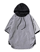 Men's Casual/Daily Hoodie Solid Round Neck Micro-elastic Polyester 1/2 Length Sleeve