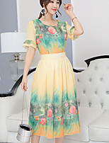 Women's Plus Size Casual/Daily Simple A Line Loose Dress,Floral Round Neck Midi ½ Length Sleeve Polyester Spring Summer Mid Rise Inelastic