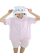 Kigurumi Pajamas Anime Cat Leotard/Onesie Festival/Holiday Animal Sleepwear Halloween Pink Color Block Cotton Cosplay Costumes Kigurumi