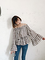 Women's Going out Simple Shirt,Plaid Boat Neck Long Sleeve Cotton