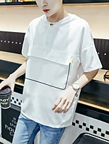 Men's Casual/Daily Hoodie Solid Round Neck Micro-elastic Cotton Summer