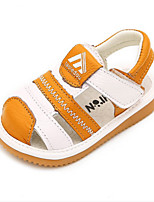 Kids' Baby Sandals First Walkers Cowhide Summer Casual First Walkers Flat Heel Gray Yellow Blue Flat