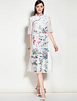Для женщин На каждый день Праздник На выход Винтаж Уличный стиль А-силуэт Платье Однотонный Цветочный принт Вышивка,Воротник-стойка