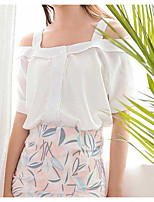 Women's Going out Cute Blouse,Solid Strap Short Sleeve Polyester