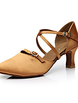 Women's Dance Shoes Satin Latin Sandals Flared Heel Performance