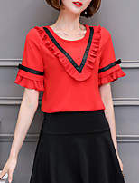 Women's Plus Size Casual/Daily Cute Summer Blouse,Color Block Round Neck Short Sleeve Polyester Spandex Thin