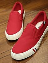 Dames Loafers & Slip-Ons Lente Herfst Comfortabel Canvas Casual Platte hak Zwart Rood Blauw