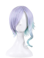Lovely Lolita Cosplay Party Wig Heat Resistant Purple Mixed Blue New Synthetic Wig