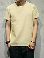 Masculino Camiseta Casual SimplesEstampado Algodão Decote Redondo Manga Curta