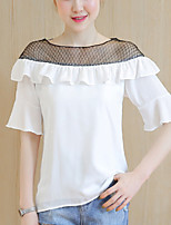 Women's Slim chic Summer Blouse Color Block Patchwork Ruffle Cut Out  Round Neck  Length Sleeve Thin