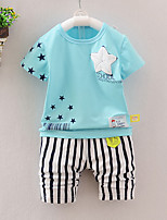 Unisex Going out Casual/Daily Sports Striped Print Sets Cotton Summer Short Sleeve Pants 2 Piece Clothing Set Boy Girl Children's Garments