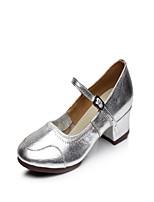 Keine Maßfertigung möglich Damen Latin Leder Gespaltene Sole Innen Verschlussschnalle Eingenähte Spitze Niedriger Heel Silber 2,5 - 4,5 cm