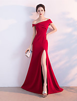 Formal Evening Dress - Furcal Trumpet / Mermaid One Shoulder Floor-length Satin with Pleats