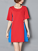 Damen Lose Kleid-Ausgehen Übergröße Street Schick Einfarbig Rundhalsausschnitt Mini ½ Länge Ärmel Polyester Sommer Mittlere Hüfthöhe