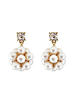 Drop Earrings Crystal Imitation Pearl Unique Design Flower Style Tag Fashion Personalized Hypoallergenic Statement Jewelry Classic
