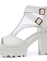 Damen-Sandalen-Lässig-PU-Blockabsatz Block Ferse-Komfort-