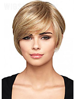Natural Straight Synthetic Hair Light Blonde Short Full  Wig for the White Woman