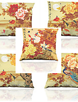 Set of 5  Chinese Style Retro Flowers Pattern Imitation silk Pillowcase Sofa Home Decor Cushion Cover (18*18inch)
