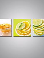 Estampados de Lonas Esticada Comida Moderno,3 Painéis Tela Horizontal Impressão artística Decoração de Parede For Decoração para casa