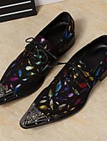 Синий-Для мужчин-Свадьба Для офиса Для вечеринки / ужина-Кожа-На плоской подошве-Удобная обувь Оригинальная обувь Формальная обувь-Туфли