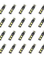 20шт t10 9 * 5050 smd декодирование декольте светодиодная лампа автомобиля белый свет dc12v