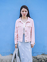 Women's Going out Beach Holiday Simple Cute Spring Denim Jacket,Solid Shirt Collar Regular Cotton