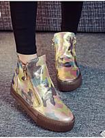 Women's Sneakers Spring Comfort PU Canvas Casual Brown Black