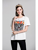 By Megyn Women's Going out Casual/Daily Cute Spring Summer T-shirtPrint Round Neck Short Sleeve Cotton Medium