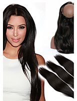 360 Lace Frontal With 3 Bundles Mongolian Virgin Hair Straight 360 Circle Lace Frontal Wigs