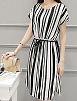 Women's Plus Size Casual/Daily Work Simple Cute Shift Dress,Striped Round Neck Knee-length Short Sleeve Others Summer Mid Rise