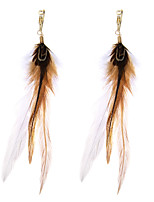 lureme® Drop Earrings Jewelry Natural Friendship Sexy Personalized Luxury Multi-ways Wear Statement Jewelry Feather AlloyGeometric Wings /