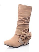 Women's Boots Winter Comfort Leatherette Dress Casual Flat Heel Rhinestone Bowknot Sparkling Glitter Red Yellow Gray Black