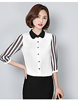 Women's Casual/Daily Simple Shirt,Solid Shirt Collar ¾ Sleeve Polyester Thin