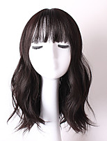 Popular Black Color Wave Synthetic Hair Full Bang Daily Wigs for Women