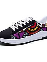 Men's Sneakers Spring Summer Comfort Couple Shoes Canvas Outdoor Athletic Casual Flat Heel Lace-up Dark Purple Black/Red Black/White