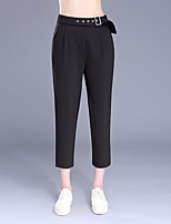 Da donna A vita alta Semplice Divertente Micro-elastico Chino Pantaloni,Taglia piccola Tinta unita Con lustrini