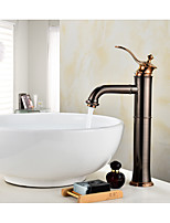 Contemporary Antique Centerset Widespread with  Ceramic Valve Single Handle One Hole for  Oil-rubbed Bronze , Bathroom Sink Faucet