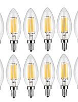 6W E14 LED Filament Bulbs C35 6 COB 600 lm Warm White Cool White Decorative AC 220-240 V 12 pcs