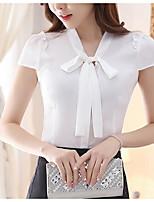 Для женщин На выход Блуза V-образный вырез,Простое Однотонный С короткими рукавами,Полиэстер