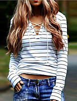Women's Going out Casual/Daily Simple Street chic Criss-Cross All Match Fashion Classic Active Spring Fall T-shirtStriped Round Neck Long Sleeve