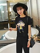 Women's Casual/Daily Cute T-shirt Pant Suits,Solid Round Neck Short Sleeve