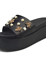 Women's Slippers & Flip-Flops Summer Comfort PU Casual Chunky Heel Lace-up Black White Walking